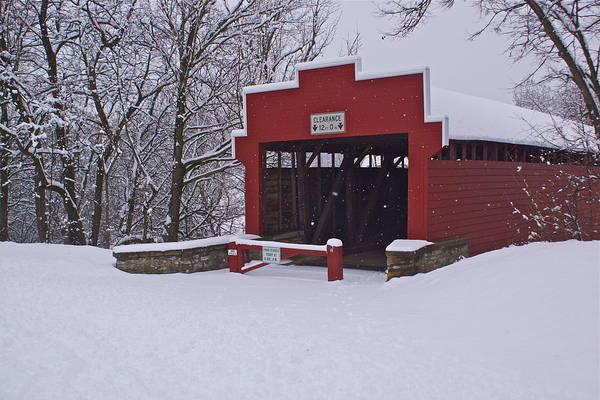 Tulpehocken Creek Photograph - Red Covered Bridge Snow Pennsylvania by Blair Seitz