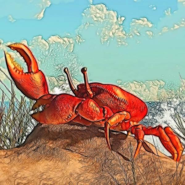 Digital Art - Red Crab by Daniel Eskridge