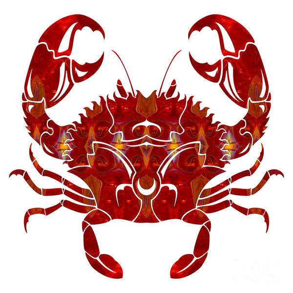 Digital Art - Red Crab Fantasy Designs Abstract Holiday Art By Omaste Witkowsk by Omaste Witkowski