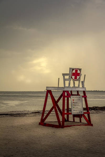 Guard Tower Wall Art - Photograph - Red Cross Lifeguard by Marvin Spates