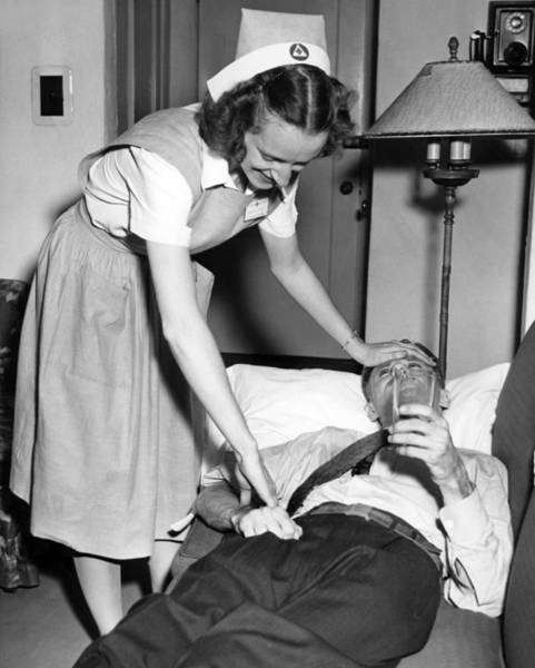 Sick Photograph - Red Cross Nurse With Patient by Underwood Archives