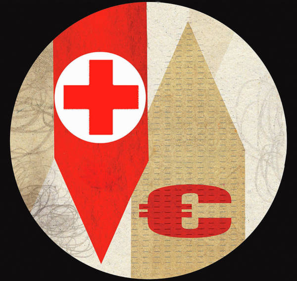 Commercialism Photograph - Red Cross With Euro Symbol On Arrows by Ikon Ikon Images
