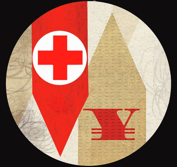 Commercialism Photograph - Red Cross With Yen Symbol On Arrows by Ikon Ikon Images