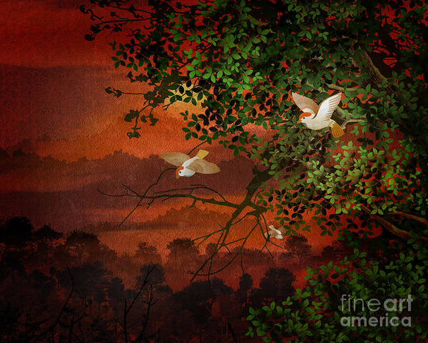 Maroon Digital Art - Red Dawn Sparrows by Peter Awax