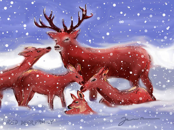 Painting - Red Deer Family by Jean Pacheco Ravinski