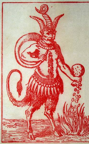 Wall Art - Drawing - Red Devil With 3 Horns, Tail And Goats by Mary Evans Picture Library