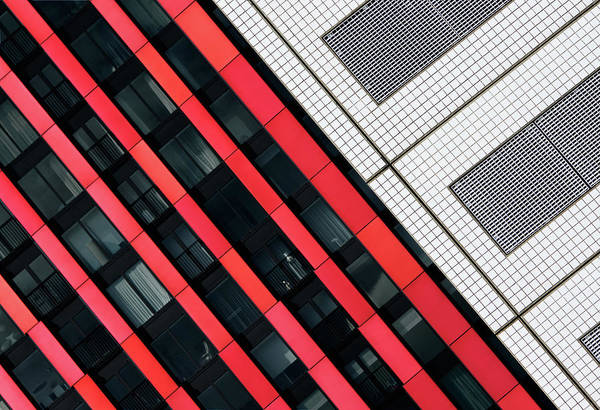 Grid Photograph - Red Diagonals. by Greetje Van Son