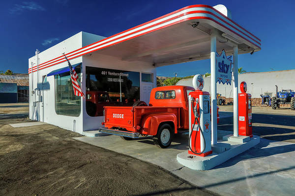 Wall Art - Photograph - Red Dodge Pickup Truck Parked In Front by Panoramic Images