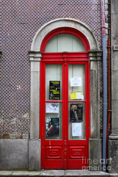 Photograph - Red Door And Cermaic Wall by James Brunker
