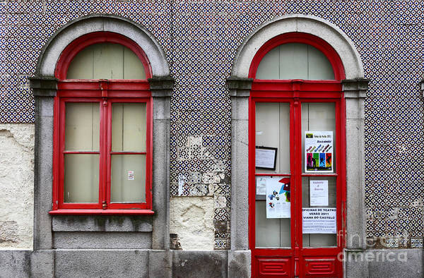 Photograph - Red Door And Window Portugal by James Brunker