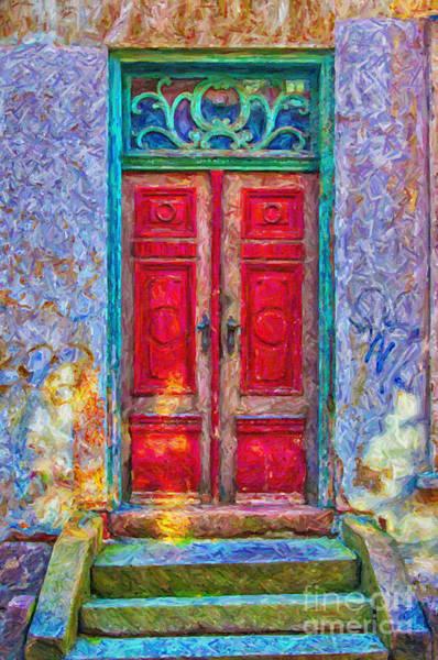 Traditional Home Digital Art - Red Door Green Frame Digital Painting by Antony McAulay
