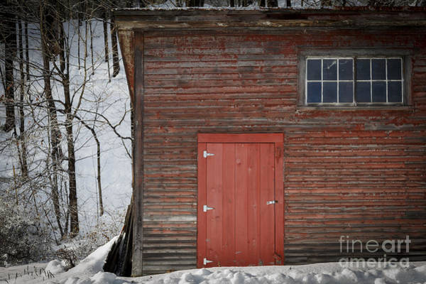 New England Barn Photograph - Red Door Red Barn by Edward Fielding