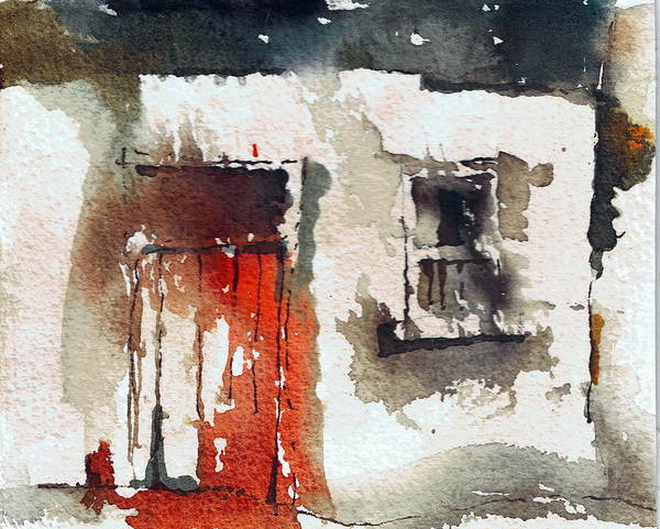 Dilapidation Painting - Red Door by Val Byrne