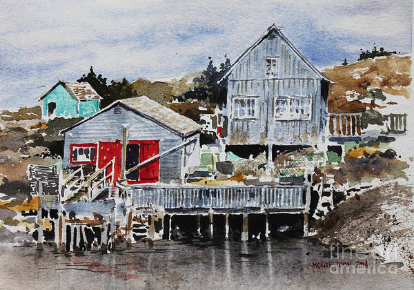 Painting - Red Doors At Peggys Cove by Monte Toon