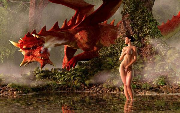 Horny Digital Art - Red Dragon And Nude Bather by Kaylee Mason