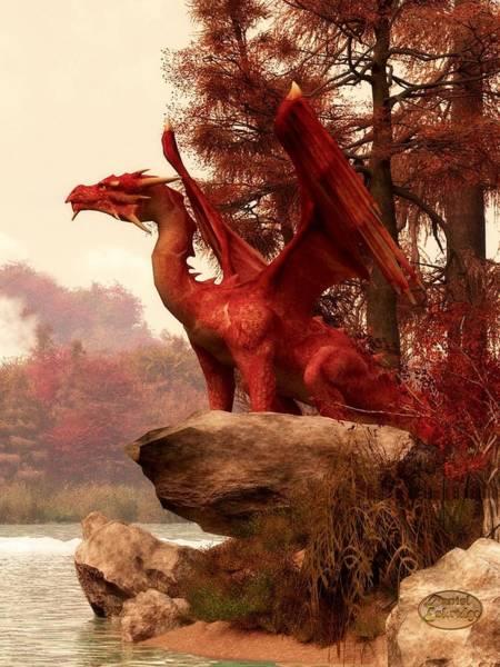 Digital Art - Red Dragon In Autumn by Daniel Eskridge