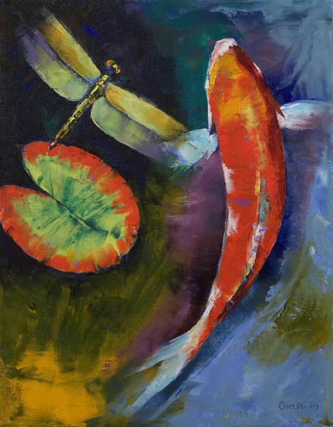 Wall Art - Painting - Red Dragon Koi by Michael Creese