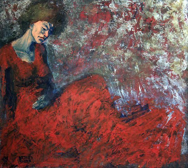 Wall Art - Painting - Red Dress by Piotr Betlej