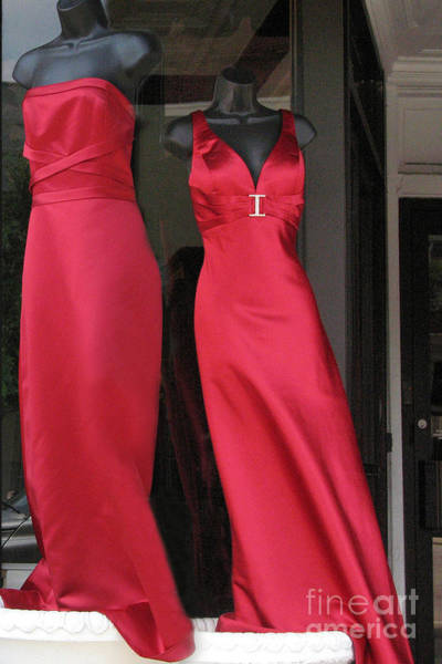 Dress Shop Photograph - Red Dresses Mannequins - Pretty Red Dresses Fashion Decor by Kathy Fornal