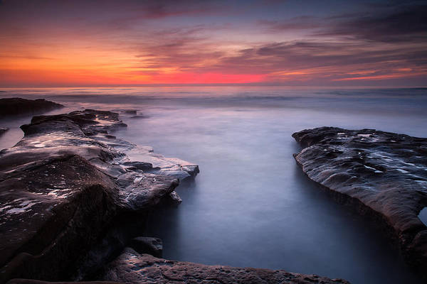 Photograph - Red Dusk- Blue Water by Peter Tellone