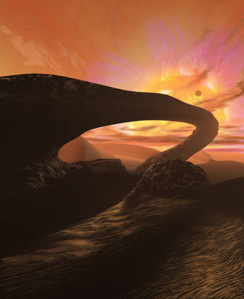 Alien Painting - Red Dwarf Sun by Don Dixon