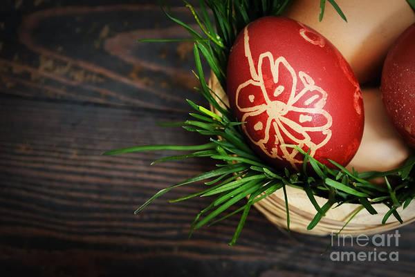 Empty Nest Wall Art - Pyrography - Red Easter Eggs by Jelena Jovanovic