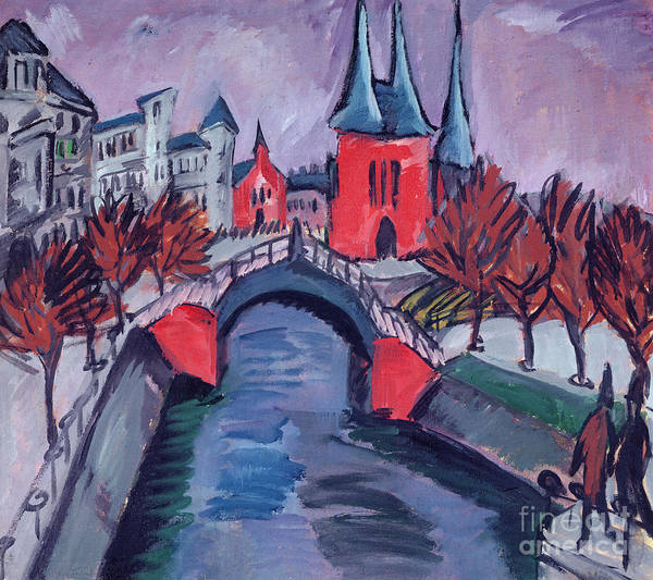 Abstract People Painting - Red Elisabeth Riverbank Berlin by Ernst Ludwig Kirchner