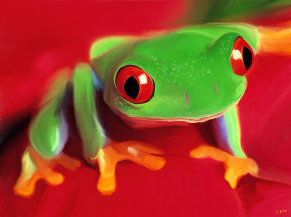Rain Forest Painting - Red Eye Tree Frog by Paul Tagliamonte