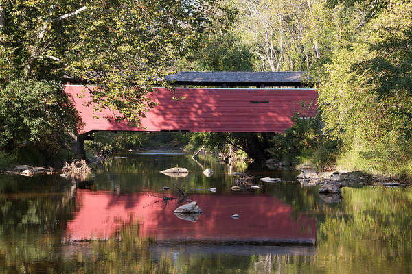 Wall Art - Photograph - Red Fairhill Covered Bridge Two by Alice Gipson