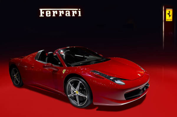 458 Photograph - Red Ferrari Convertible by Radoslav Nedelchev