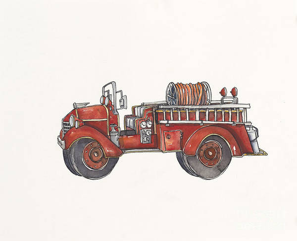 Vintage Fire Truck Painting - Red Firetruck by Annie Laurie