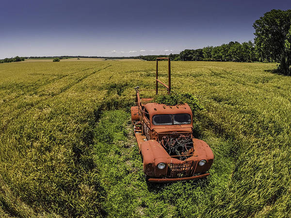 Digital Art - Red Firetruck In The Field by Michael Thomas