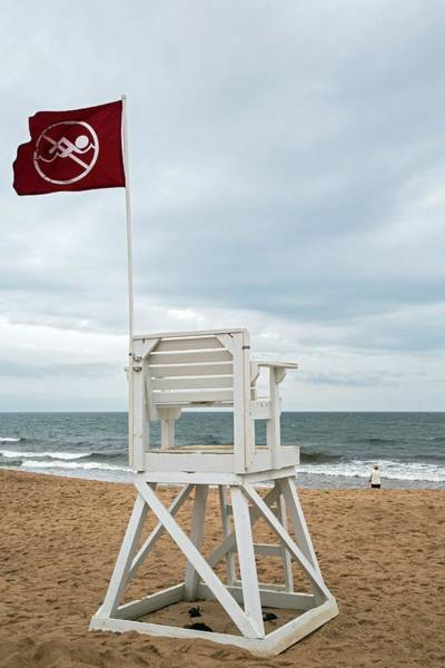 Us West Coast Photograph - Red Flag At A Beach by Jim West