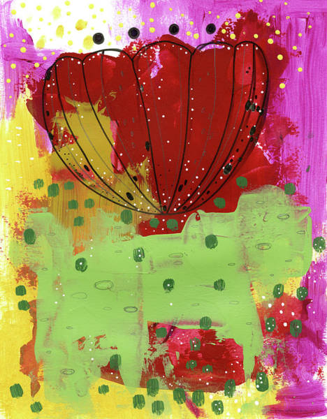 Mustard Painting - Red Flower Abstract by Sarah Ogren