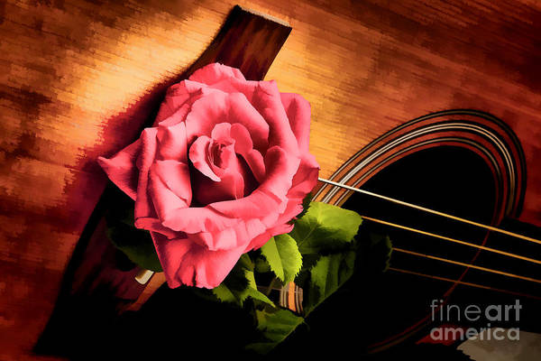 Painting - Red Flower Rose Bloom On Guitar Painting In Color 3264.02 by M K Miller