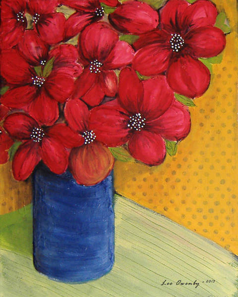 Painting - Red Flowers In A Blue Vase by Lee Owenby