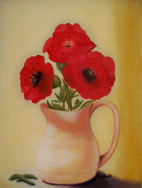 Painting - Red Flowers In Clay Pot by Joni McPherson