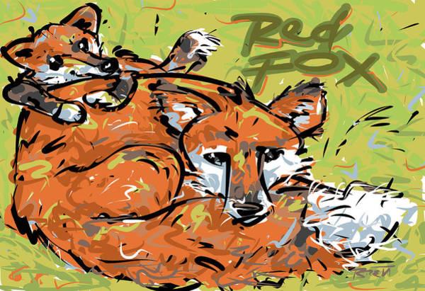 Rust Drawing - Red Fox by Brett LaGue