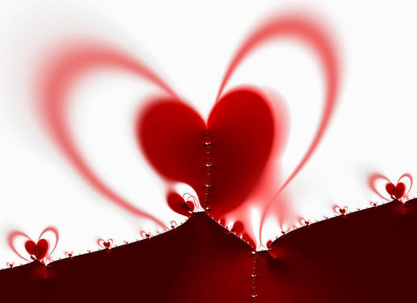 Digital Art - Red Fractal Valentine Heart by Matthias Hauser