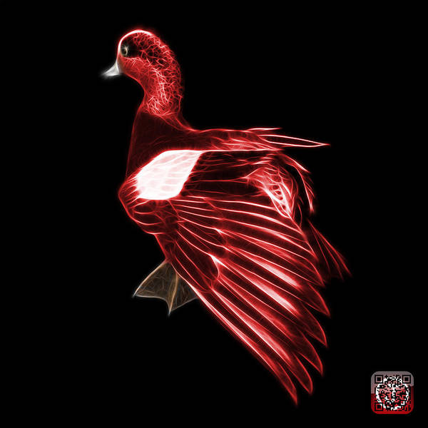 Mixed Media - Red Fractal Wigeon 7702 - Bb by James Ahn