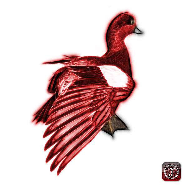 Mixed Media - Red Fractal Wigeon 7702 - Wb by James Ahn