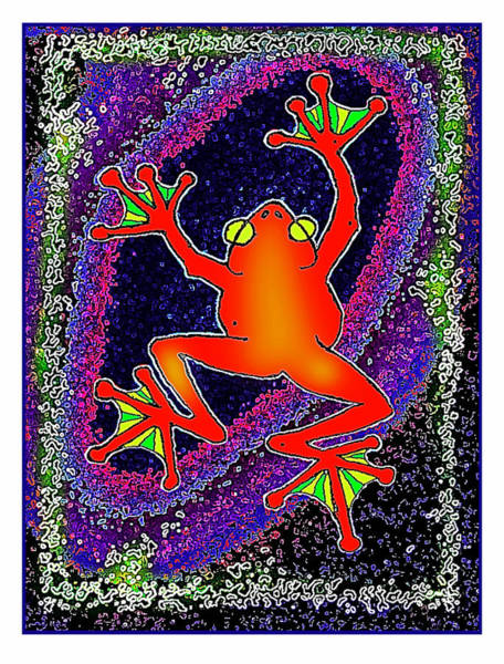Drawing - Red  Frog by Hartmut Jager