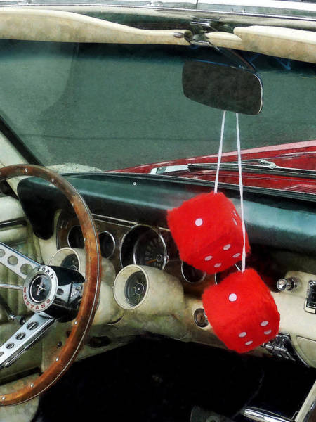 Photograph - Red Fuzzy Dice In Converible by Susan Savad