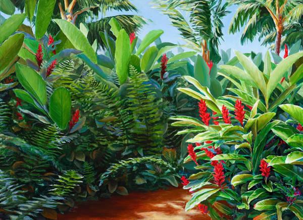 Hawaiian Islands Wall Art - Painting - Tropical Jungle Landscape - Red Garden Hawaiian Torch Ginger Wall Art by Karen Whitworth