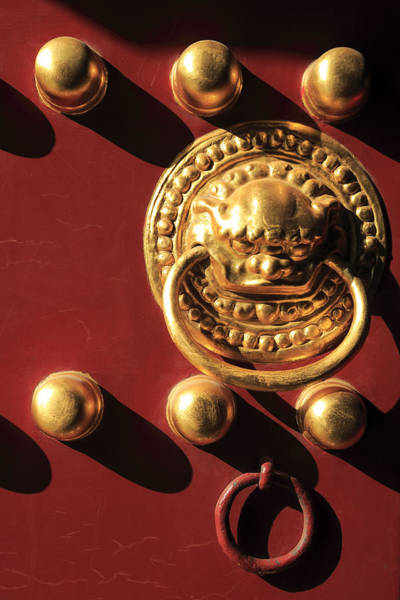 Doorknob Photograph - Red Gate Of Hall Of Yonghe by Bruce Yuanyue Bi