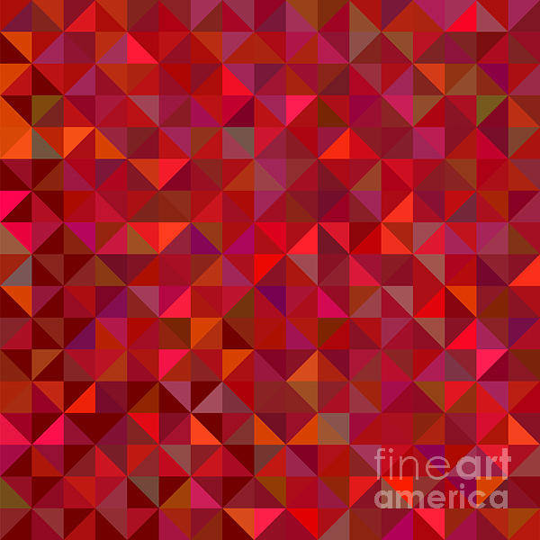 Triangle Digital Art - Red Geometric Background. Vector Mosaic by Essl