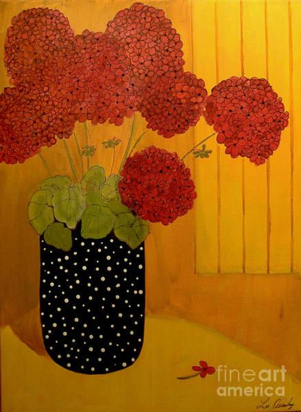 Painting - Red Geranium On Black by Lee Owenby
