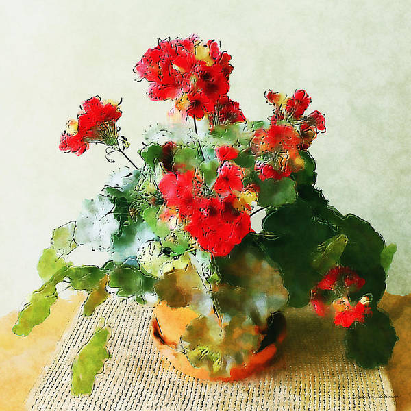 Painting - Red Geraniums In A Flower Pot by Susan Schroeder