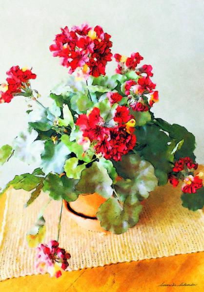 Digital Art - Red Geraniums by Susan Schroeder