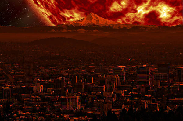 Photograph - Red Giant Sun Over Portland by Gary Silverstein